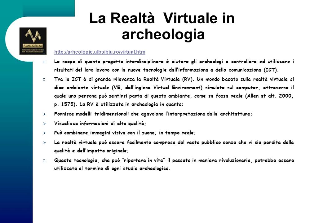 La Realtà Virtuale in archeologia