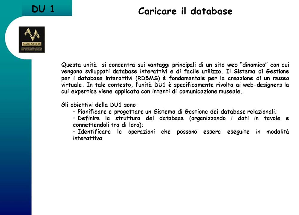 DU 1 Caricare il database