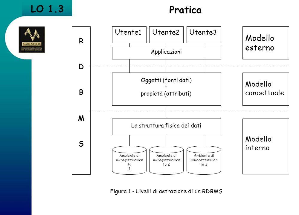 LO 1.3 Pratica Modello esterno R D B M S Utente1 Utente2 Utente3