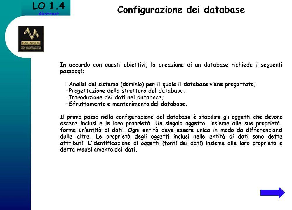 Configurazione dei database
