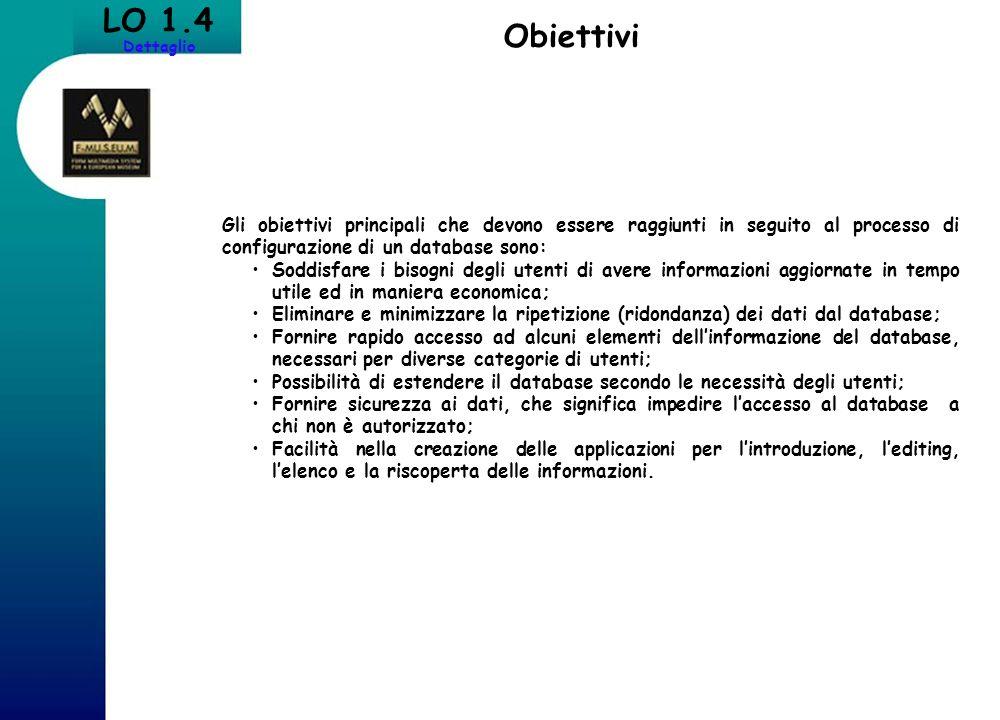 LO 1.4 Dettaglio Obiettivi
