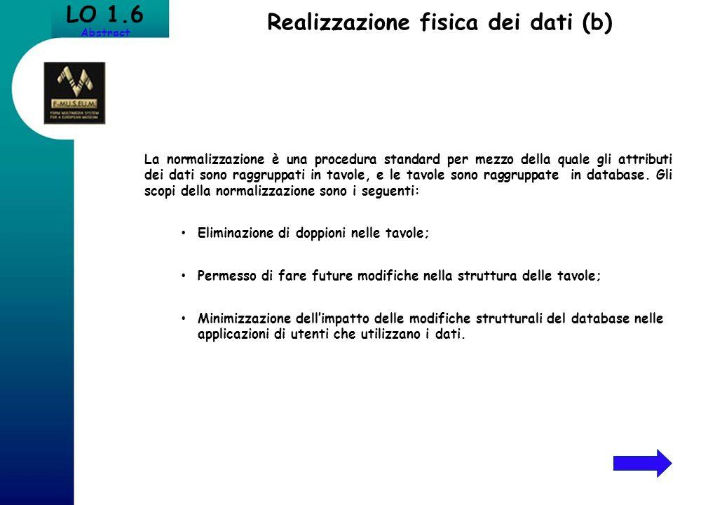 Realizzazione fisica dei dati (b)