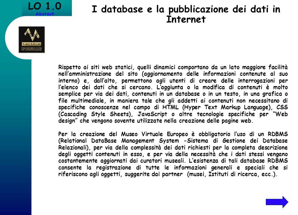 I database e la pubblicazione dei dati in Internet