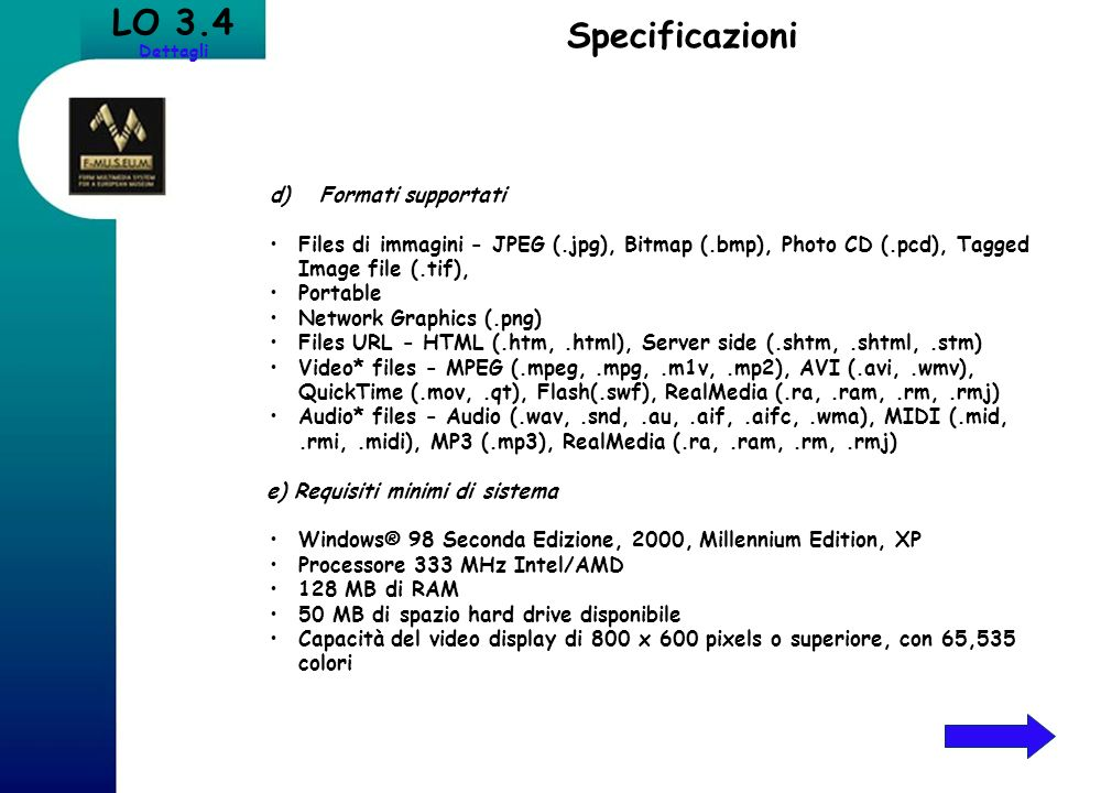 LO 3.4 Specificazioni d) Formati supportati
