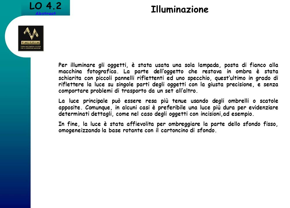 LO 4.2 Abstract. Illuminazione.