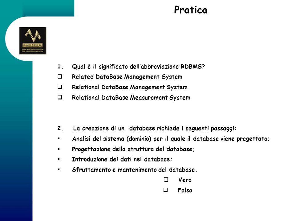 Pratica Qual è il significato dell'abbreviazione RDBMS