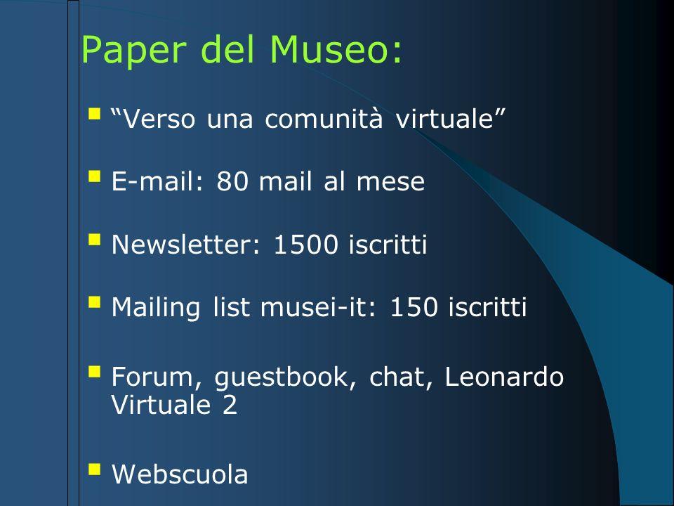 Paper del Museo: Verso una comunità virtuale E-mail: 80 mail al mese