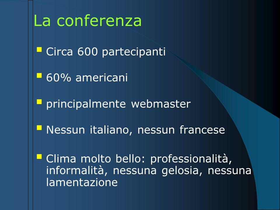 La conferenza Circa 600 partecipanti 60% americani