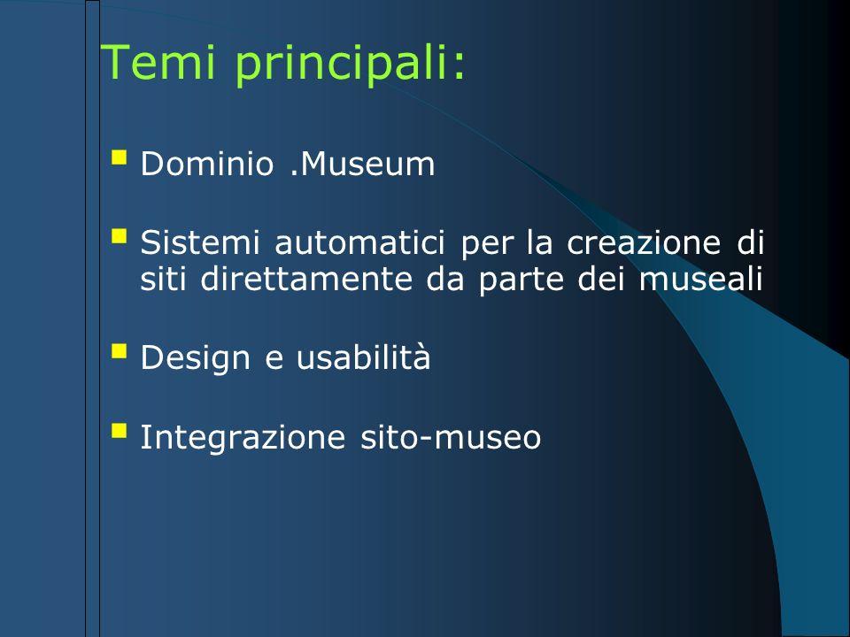 Temi principali: Dominio .Museum