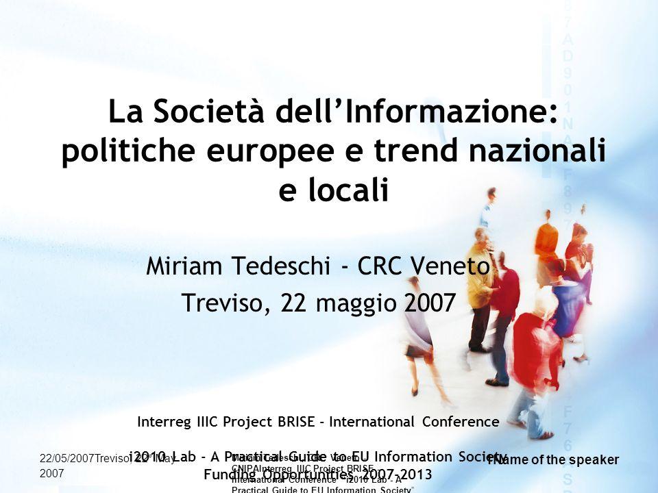 Miriam Tedeschi - CRC Veneto Treviso, 22 maggio 2007
