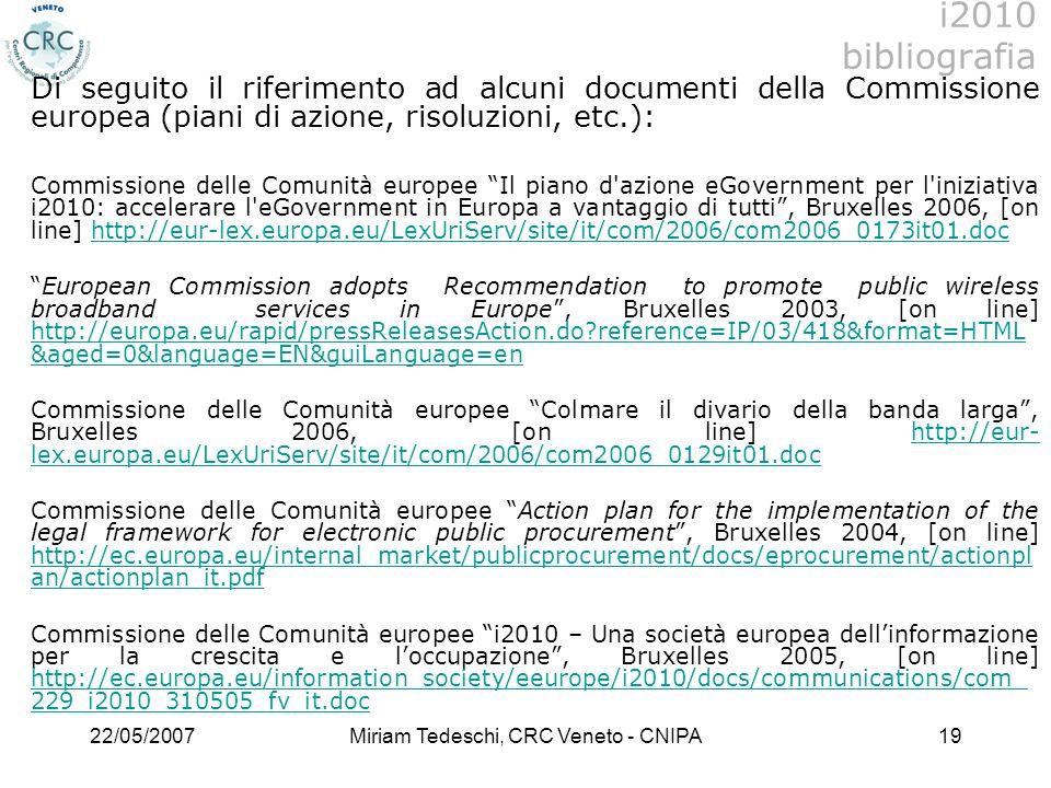 Miriam Tedeschi, CRC Veneto - CNIPA