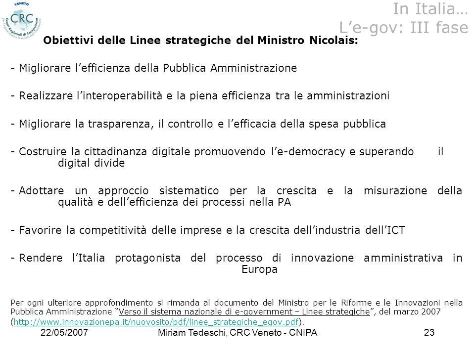 In Italia… L'e-gov: III fase