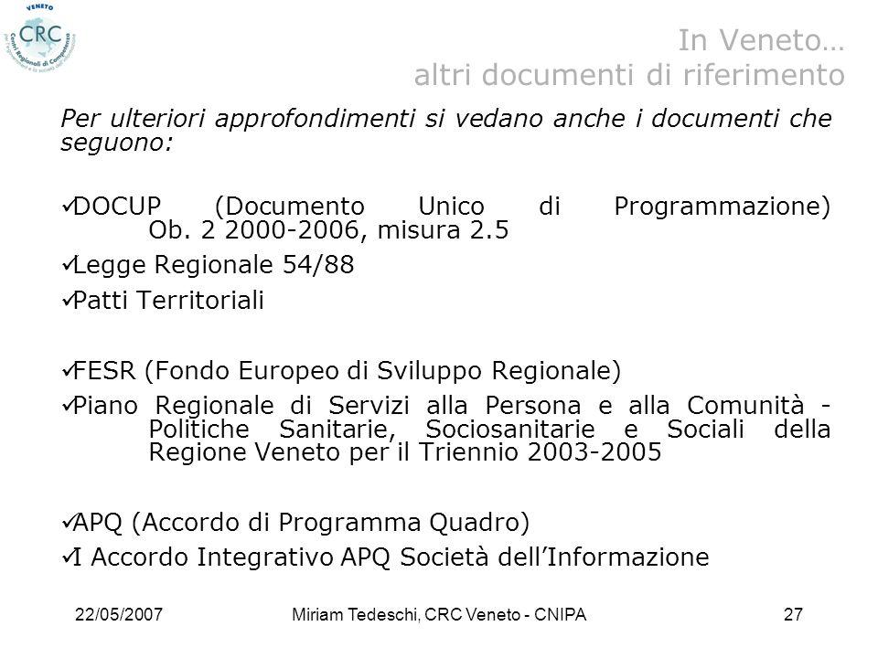 In Veneto… altri documenti di riferimento