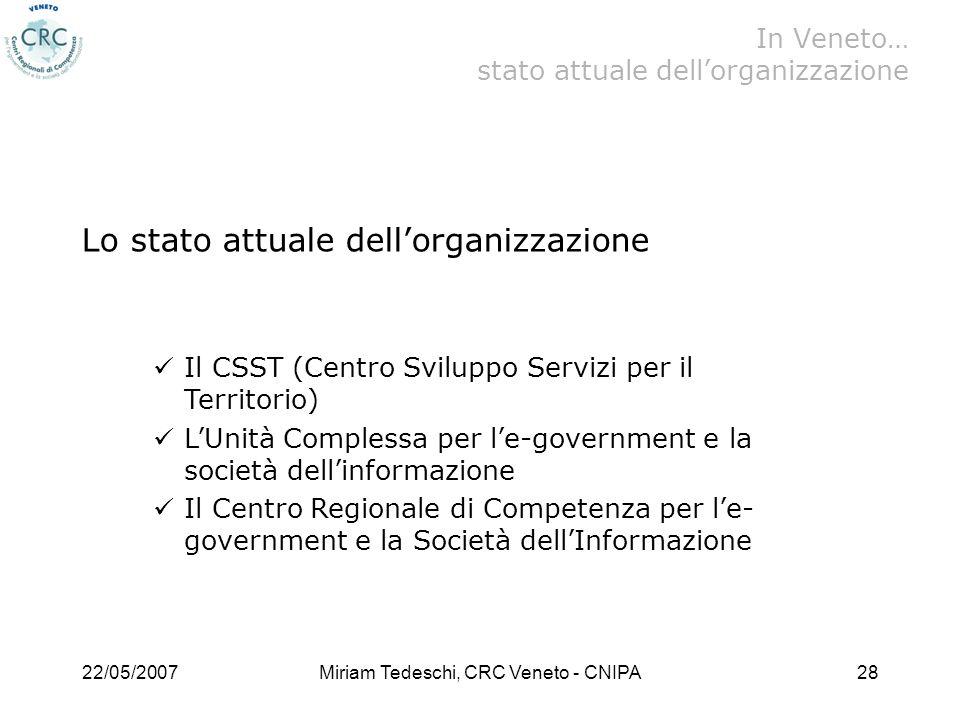 In Veneto… stato attuale dell'organizzazione