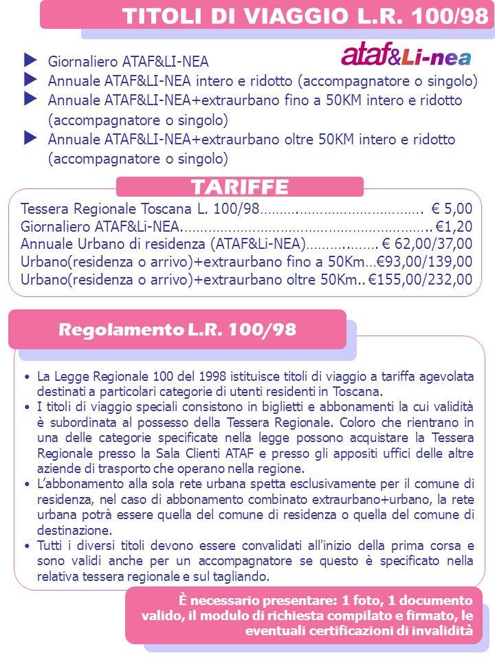 TITOLI DI VIAGGIO L.R. 100/98 TARIFFE Regolamento L.R. 100/98