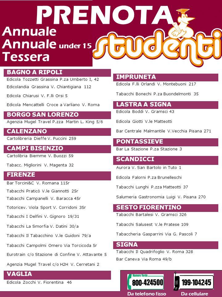 PRENOTA Annuale Annuale under 15 Tessera BAGNO A RIPOLI IMPRUNETA