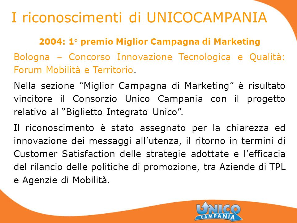 2004: 1° premio Miglior Campagna di Marketing