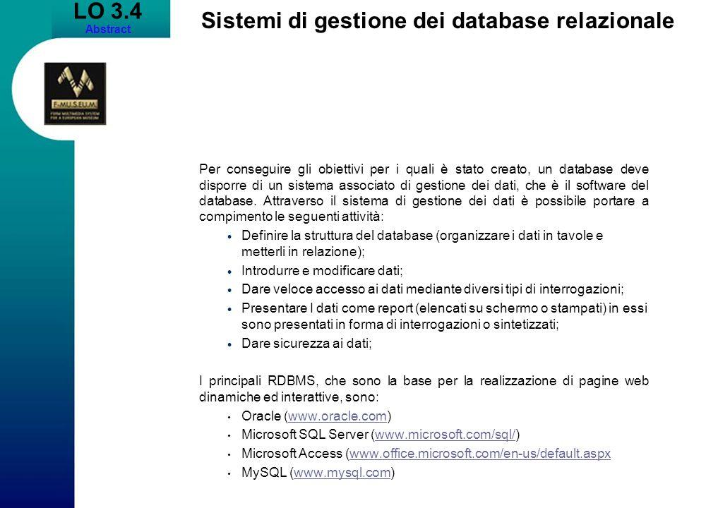 Sistemi di gestione dei database relazionale