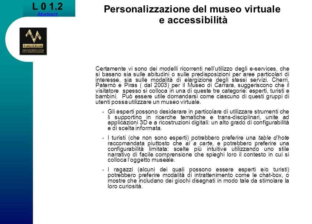 Personalizzazione del museo virtuale e accessibilità
