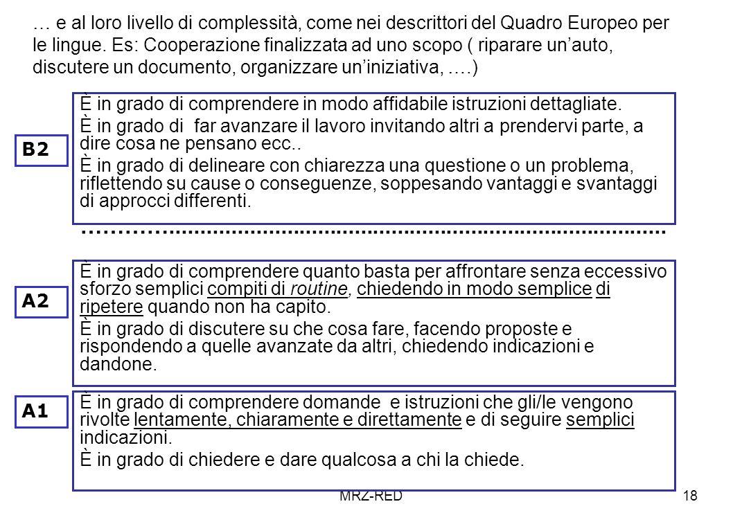 … e al loro livello di complessità, come nei descrittori del Quadro Europeo per le lingue. Es: Cooperazione finalizzata ad uno scopo ( riparare un'auto, discutere un documento, organizzare un'iniziativa, ….)
