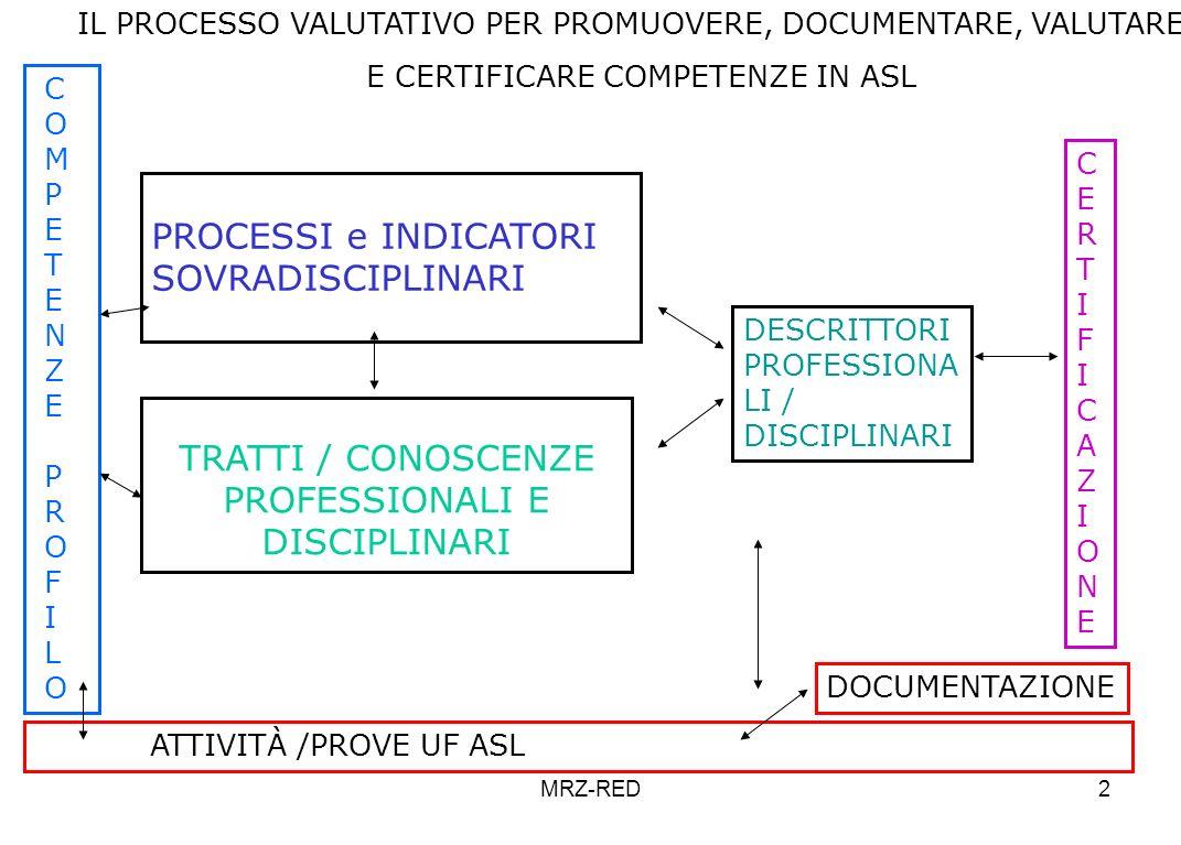 PROCESSI e INDICATORI SOVRADISCIPLINARI TRATTI / CONOSCENZE