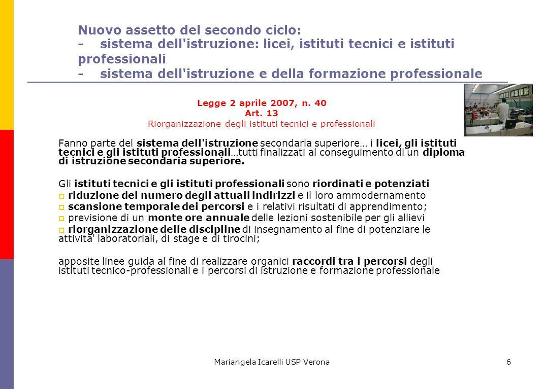 Nuovo assetto del secondo ciclo: - sistema dell istruzione: licei, istituti tecnici e istituti professionali - sistema dell istruzione e della formazione professionale