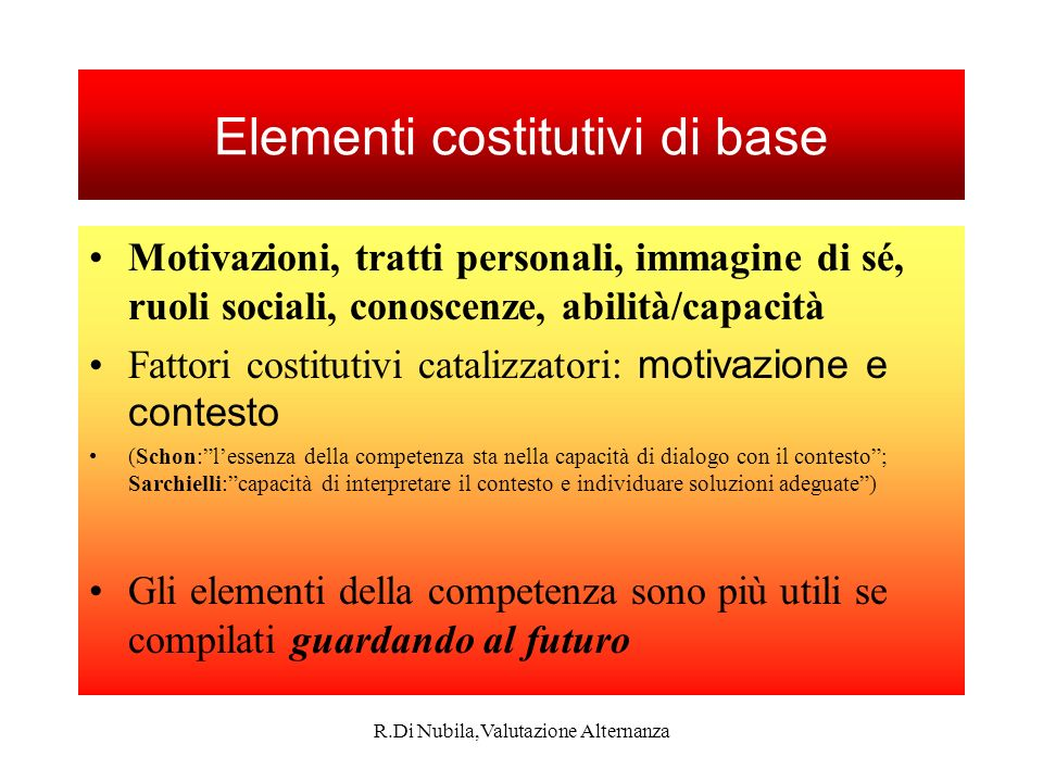 Elementi costitutivi di base