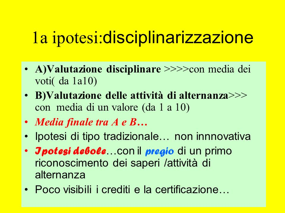 1a ipotesi:disciplinarizzazione