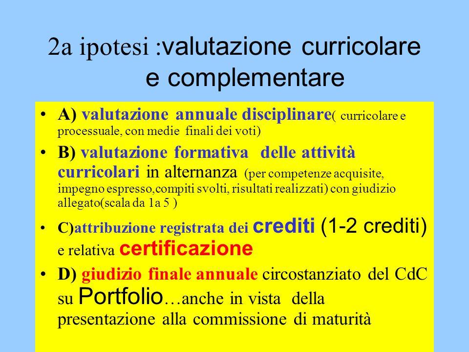 2a ipotesi :valutazione curricolare e complementare