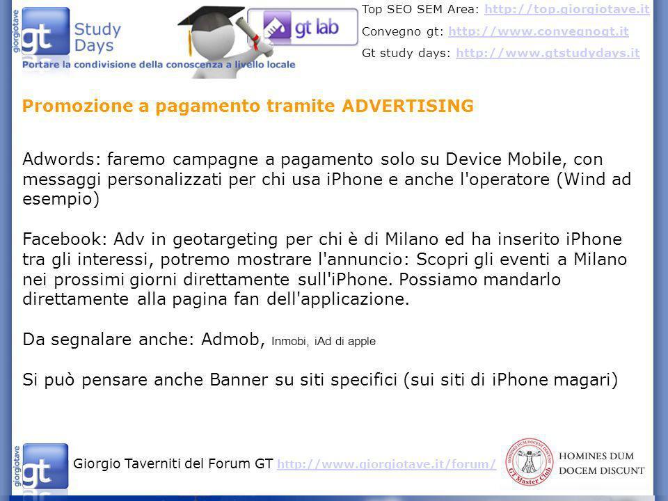 Promozione a pagamento tramite ADVERTISING