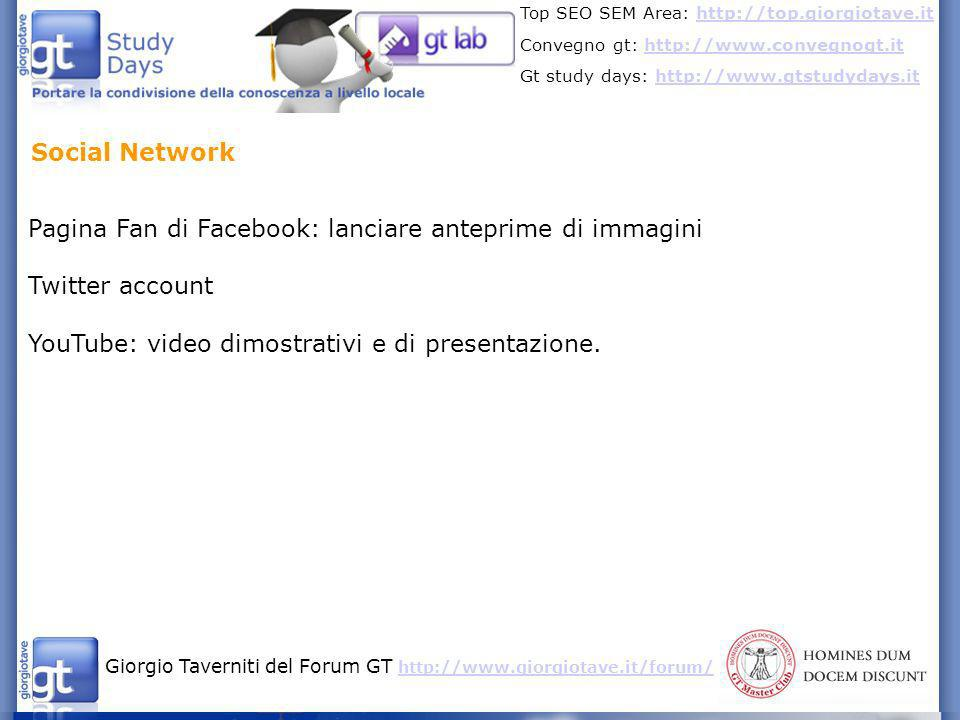 Social Network Pagina Fan di Facebook: lanciare anteprime di immagini.