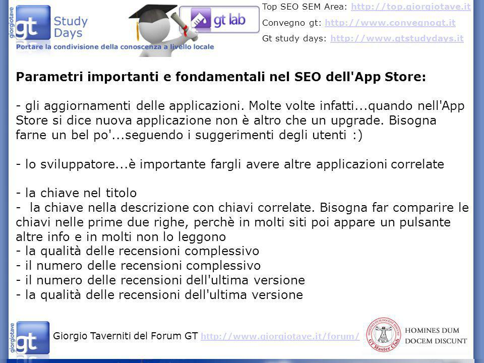 Parametri importanti e fondamentali nel SEO dell App Store: