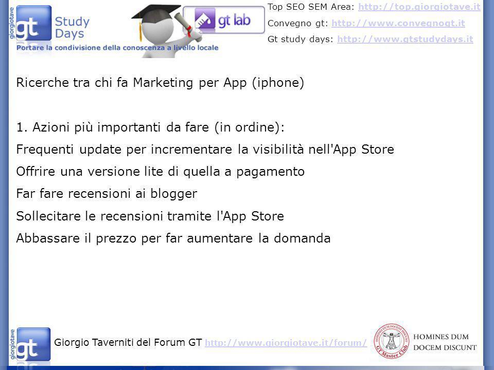 Ricerche tra chi fa Marketing per App (iphone)