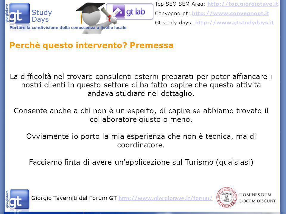 Facciamo finta di avere un applicazione sul Turismo (qualsiasi)