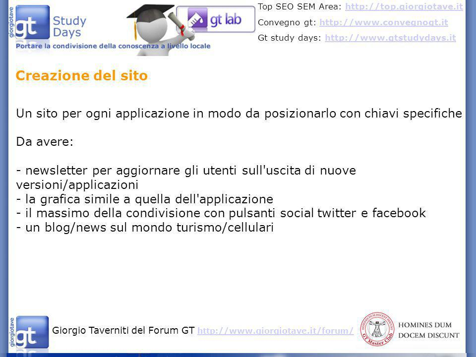 Creazione del sito Un sito per ogni applicazione in modo da posizionarlo con chiavi specifiche. Da avere: