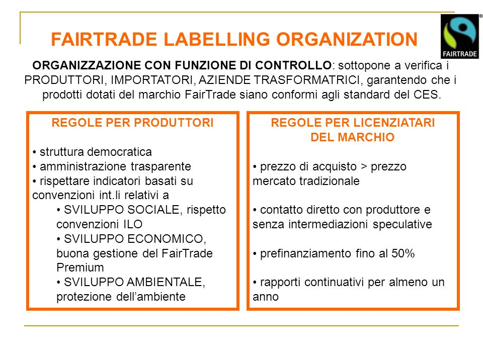 FAIRTRADE LABELLING ORGANIZATION REGOLE PER LICENZIATARI