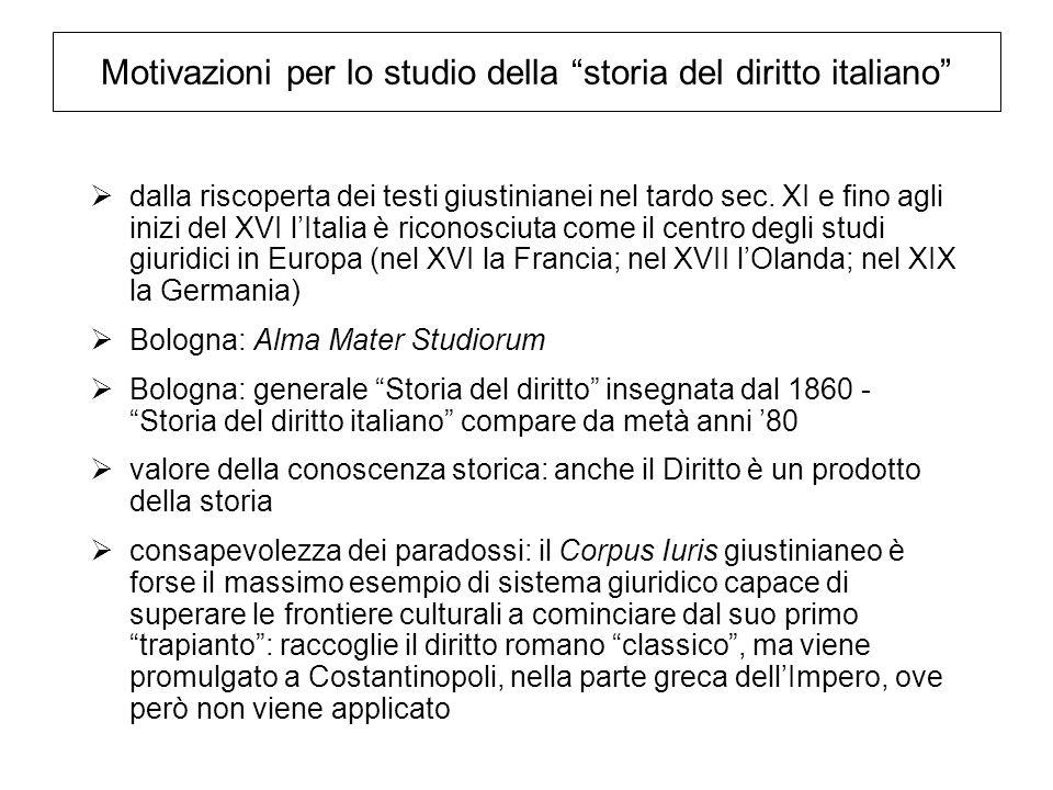 Motivazioni per lo studio della storia del diritto italiano