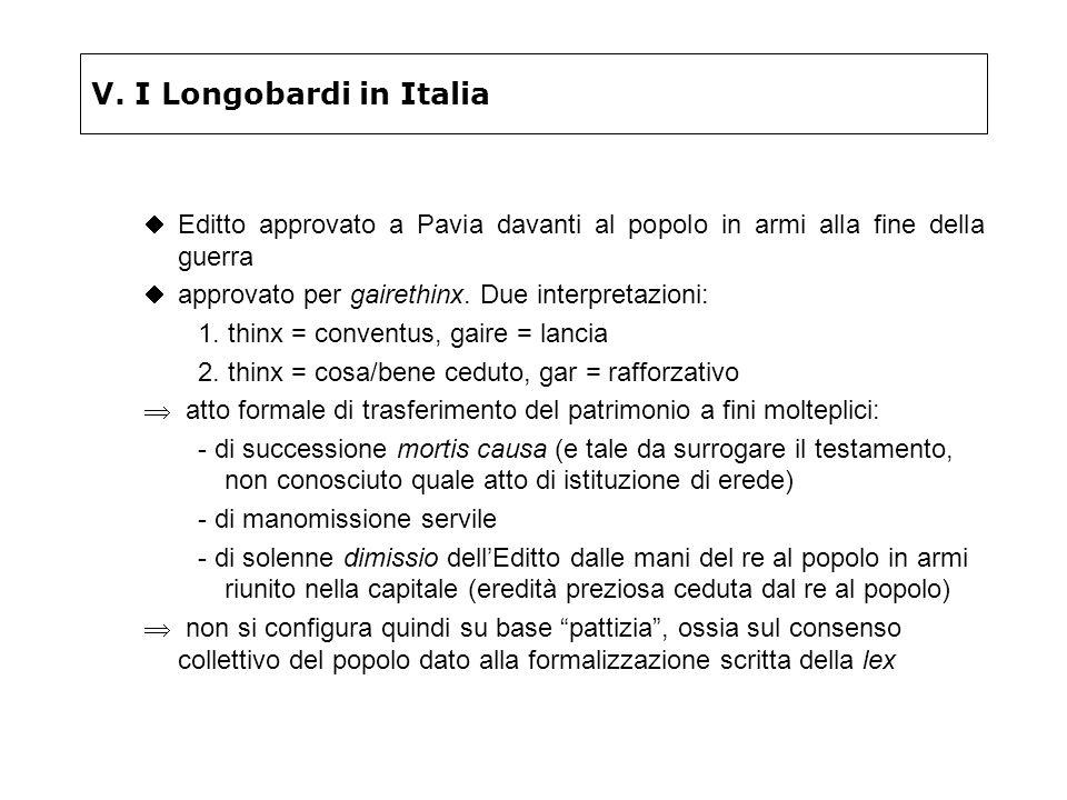 V. I Longobardi in Italia