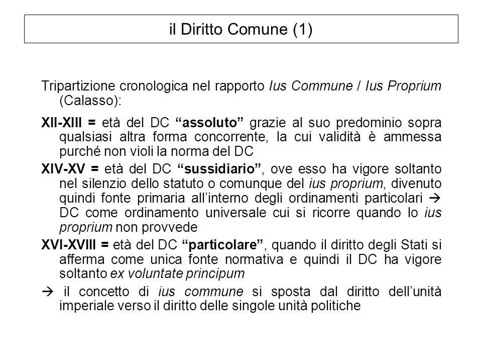 il Diritto Comune (1) Tripartizione cronologica nel rapporto Ius Commune / Ius Proprium (Calasso):