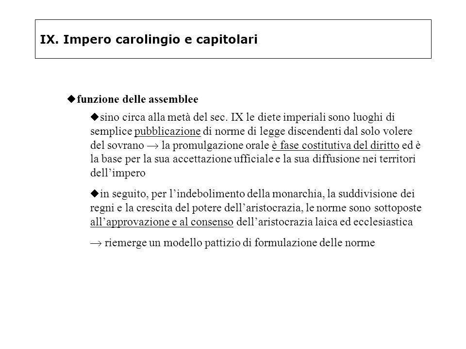 IX. Impero carolingio e capitolari