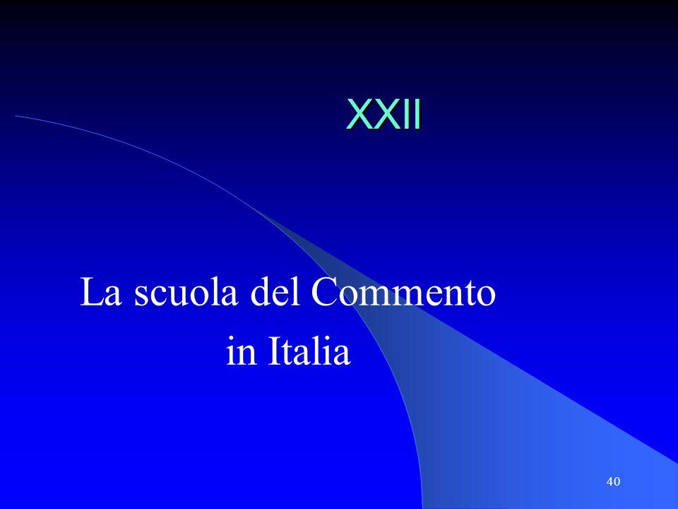 La scuola del Commento in Italia