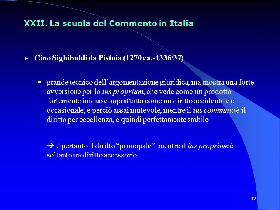 XXII. La scuola del Commento in Italia