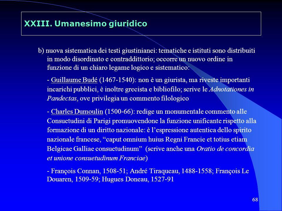 XXIII. Umanesimo giuridico