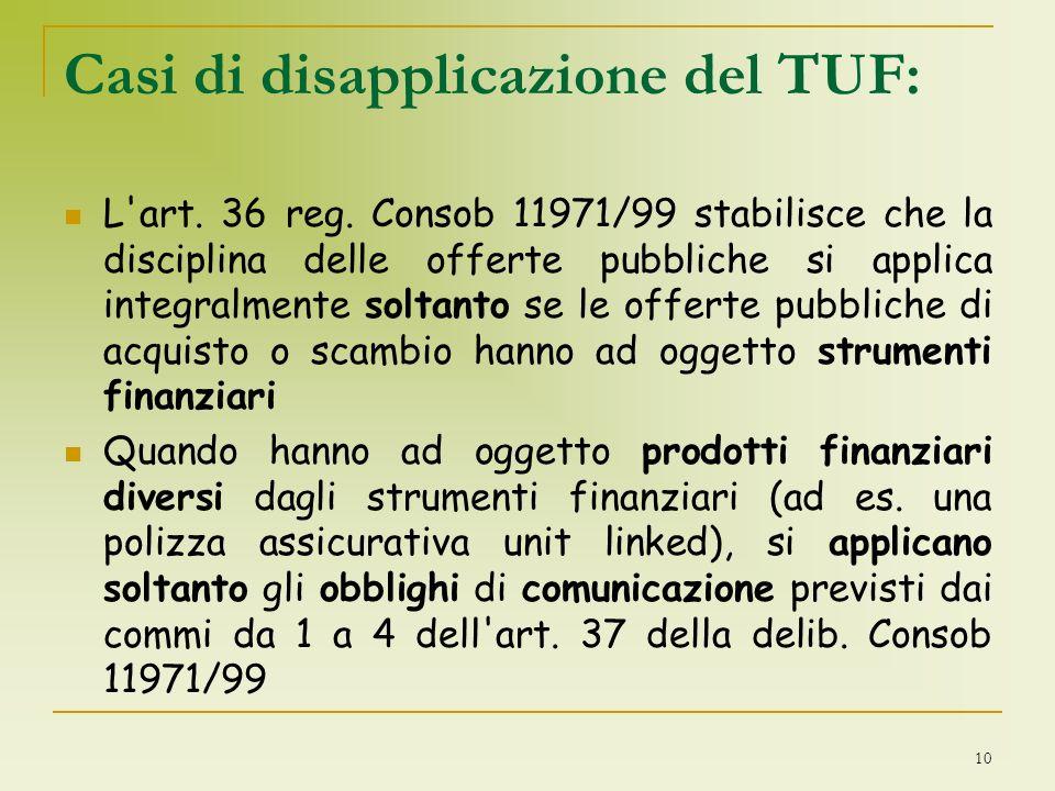 Casi di disapplicazione del TUF: