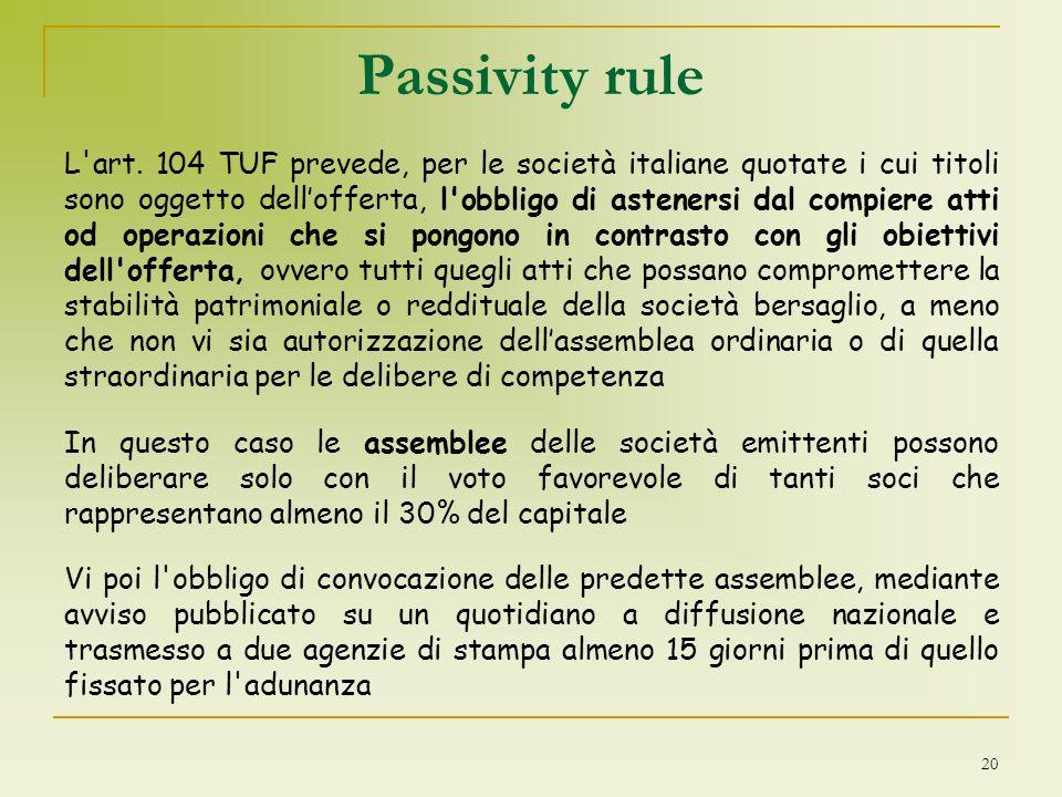 Passivity rule