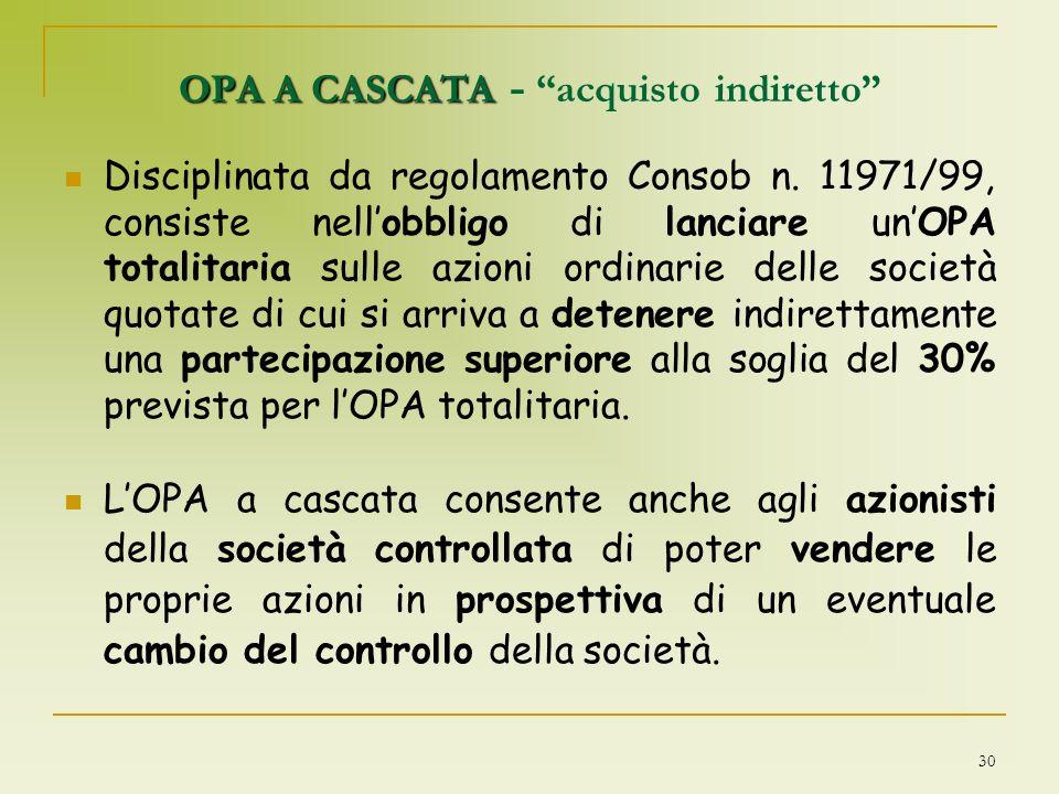 OPA A CASCATA - acquisto indiretto