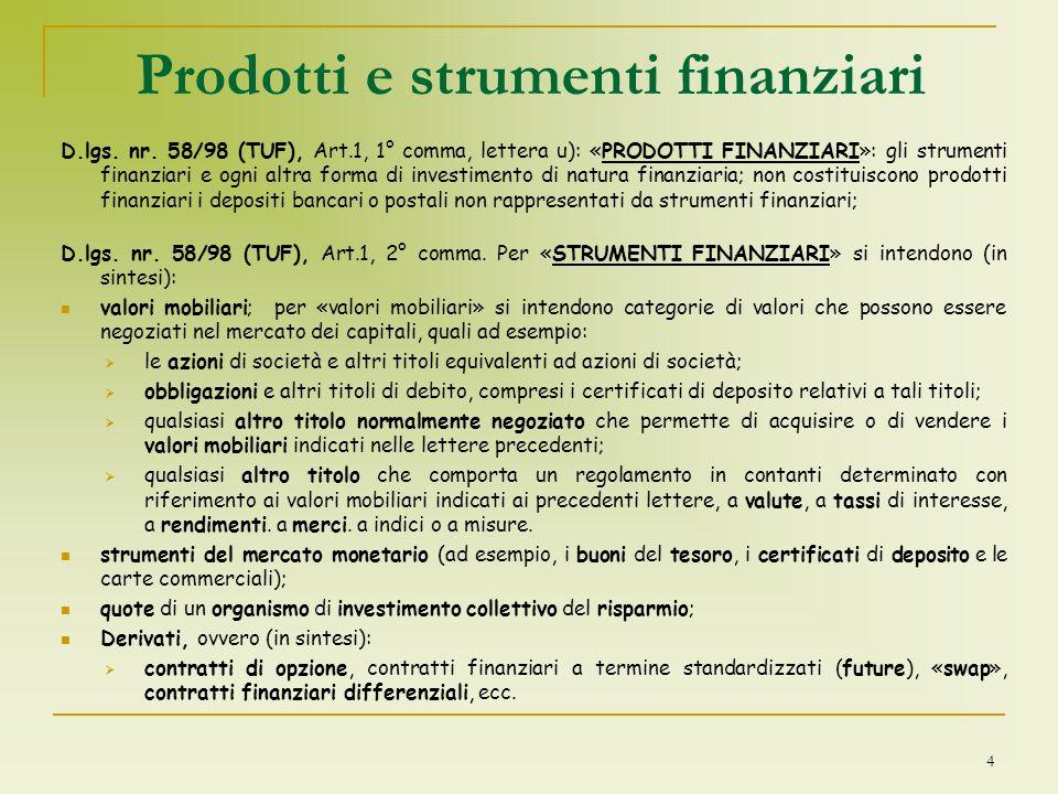 Prodotti e strumenti finanziari
