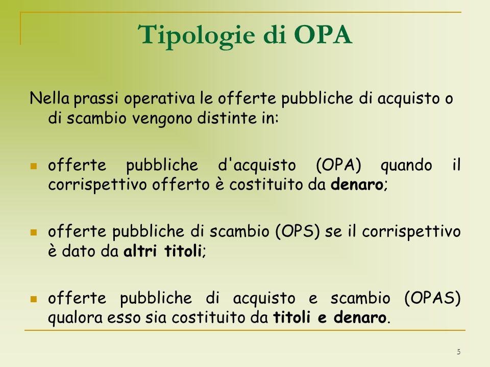 Tipologie di OPA Nella prassi operativa le offerte pubbliche di acquisto o di scambio vengono distinte in: