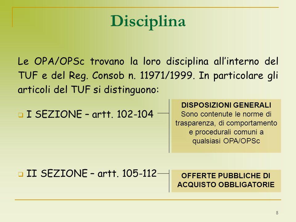 DISPOSIZIONI GENERALI OFFERTE PUBBLICHE DI ACQUISTO OBBLIGATORIE