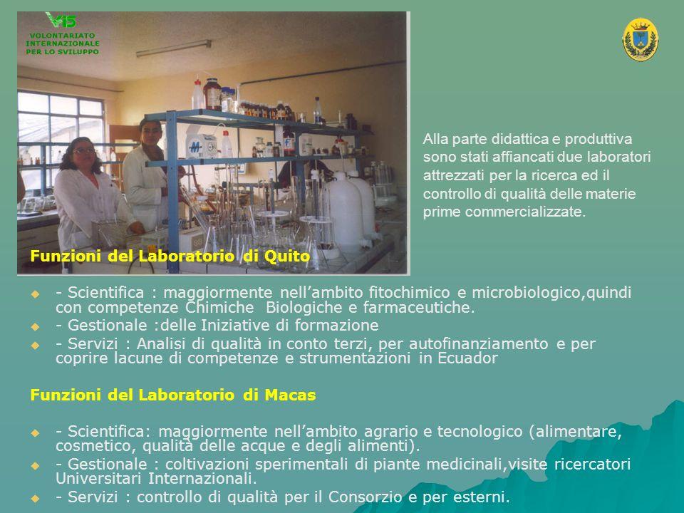 Alla parte didattica e produttiva sono stati affiancati due laboratori attrezzati per la ricerca ed il controllo di qualità delle materie prime commercializzate.